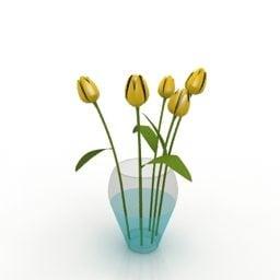ガラス花瓶チューリップフラワーフリー3dモデル 3ds Gsm Open3dmodel
