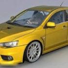 سيارة ميتسوبيشي لانسر إيفوليوشن الصفراء