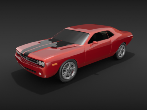 Red Vintage Dodge Challenger Car