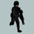 Armádní pilot s pistolí animovaný