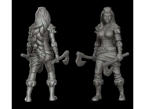 Personagem de guerreiro garota bárbara