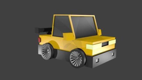 سيارة الألعاب الصفراء Lowpoly