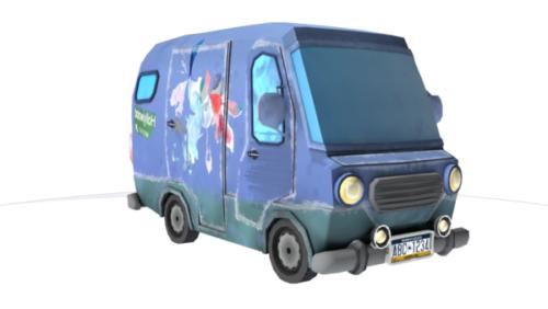 الكرتون حافلة صغيرة مركبة