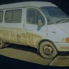 Staré špinavé minibusové auto