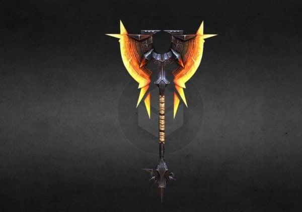 Arma doble hacha de fuego