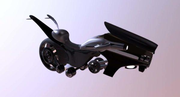 Concepto de motocicleta voladora de vehículo