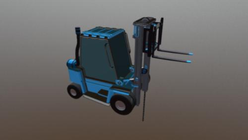 Forklift Lowpoly Teollisuusajoneuvo