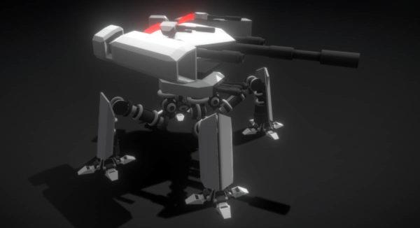 Robot de ametralladora Delta de ciencia ficción