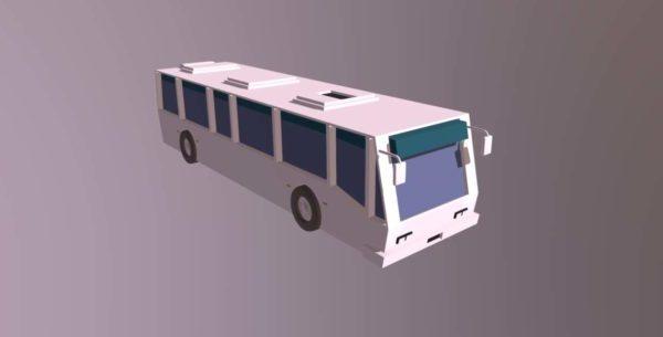 Lowpoly Valkoinen linja-auto