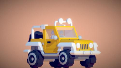 Lowpoly Jeep-autosuunnittelu