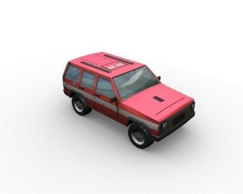 Lowpoly Carro vermelho estilo Suv