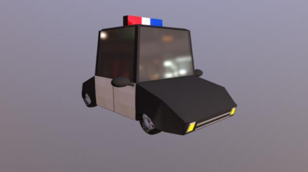 Sarjakuva Lowpoly Poliisiauto