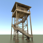 Wood Watch Tower In Forest
