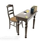 Pieni lukupöytä tuolilla