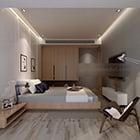 غرفة نوم رئيسية داخلية مع كرسي شل