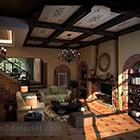 Rustic Living Room Interior V1