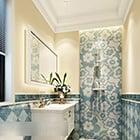 Ceramiczne wnętrze toalety w kolorze niebieskim