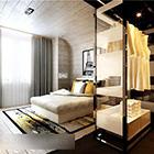 湾曲した天井のモダンなベッドルームのインテリア