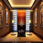 Interno del salone in stile sud-est asiatico