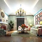 Interiér obývacího pokoje ve středomořském stylu V1