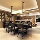 Moderni minimalistinen ruokasali-sisustus V1