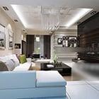 Contemporary Living Room Tv Wall Interior