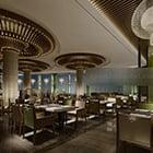 Współczesne drewniane wnętrze restauracji