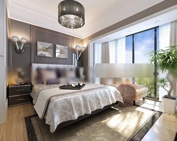 Big Windows Bedroom Design Interior