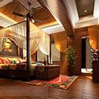 Interno di design della camera da letto del sud-est asiatico
