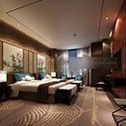 Nowoczesne, współczesne wnętrze pokoju hotelowego