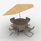 الجدول كرسي في الهواء الطلق مع مظلة