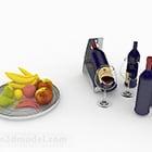 زجاجة زرقاء النبيذ الاحمر مع الغذاء