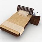 Brown Wooden Single Bed V2
