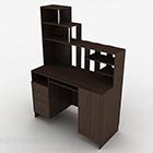 Ruskea puinen työpöytä V9