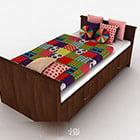 Buntes Einzelbett aus Holz