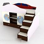 Projekt mebli dla dzieci z pojedynczym łóżkiem