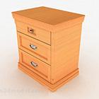 Žlutý dřevěný noční stolek Design V1