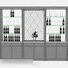 Gray Paint Wine Cooler Cabinet