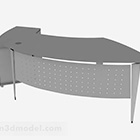 Gray Curved Office Desk