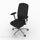 Black Leather Wheels Office Chair