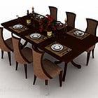 Meja dan Kerusi Makan Moden Kayu