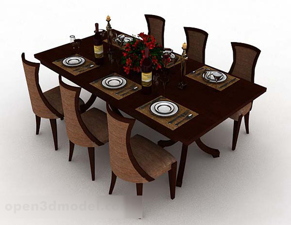 Wood Modern Dining Table And Chair
