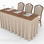 Meja Makan dan Kerusi Coklat V1