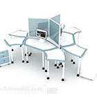 مكتب متعدد الأشخاص باللونين الأزرق والأبيض V1