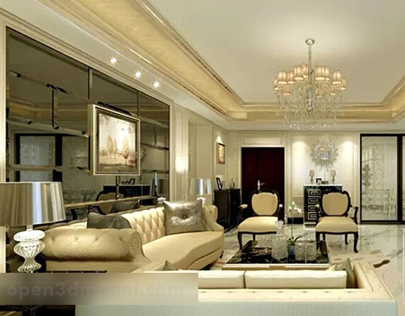 Living Room Background Wall Interior 3d Model Max Vray Open3dmodel 322496