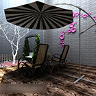 Balkoni Taman Dengan Payung
