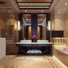 Bathroom Interior Wood Grill Ceiling