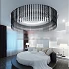 Okrągłe łóżko sypialnia współczesne wnętrze