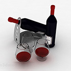زجاجة سوداء مع زجاج النبيذ الاحمر
