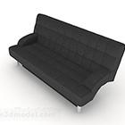 أريكة عادية باللون الأسود بمقعدين